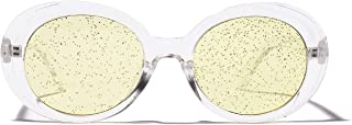 Sunglasses Fashion Accessories Glitter UV Light Lens Sunglasses Retro Style Suitable for Driving Outdoors Fishing (Color : Yellow)