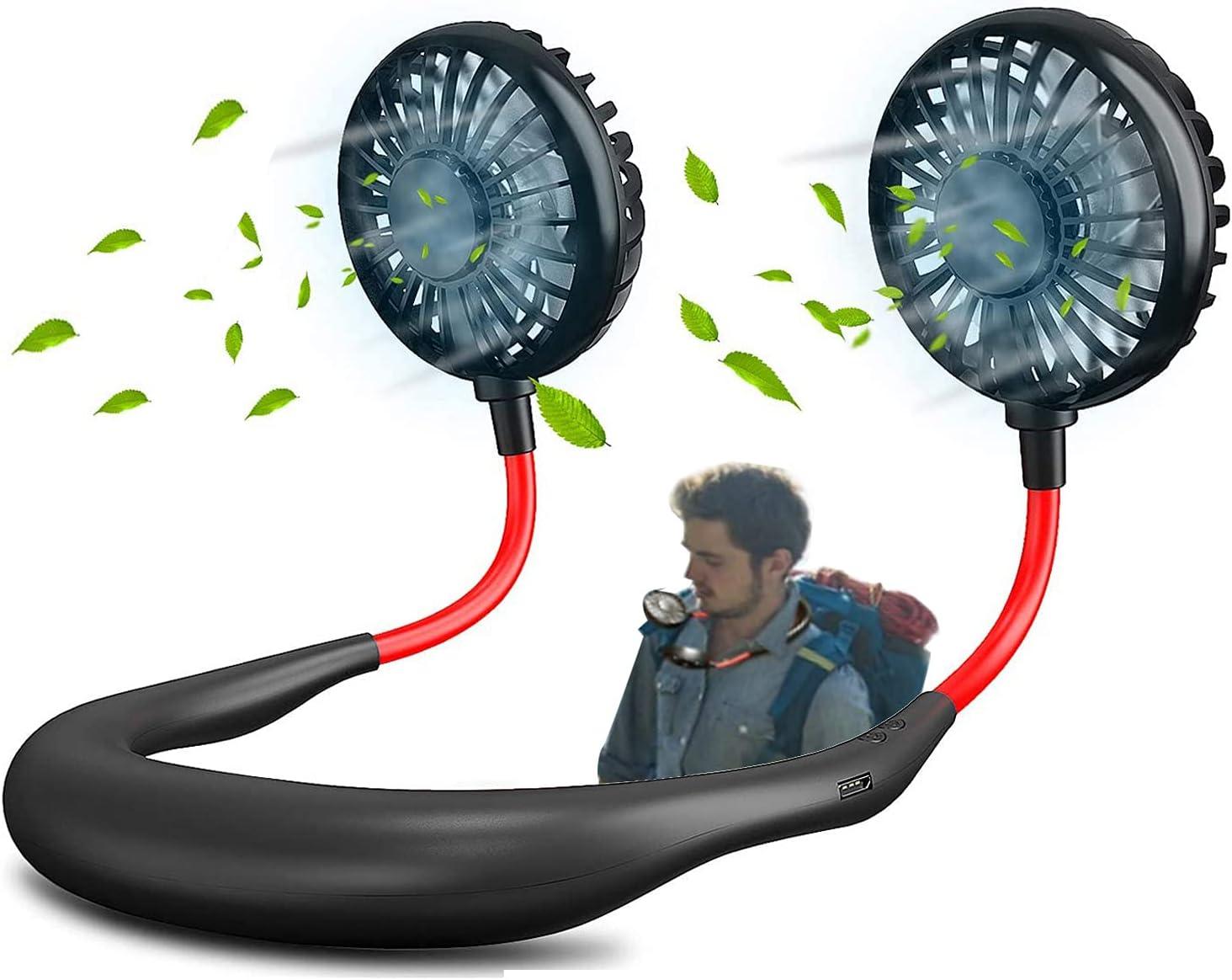 USB Rechargeable Portable Wearable Fan,Neck Fan, Hand Free Personal Fan, 360 Degree Adjustable Necklace Mini Fan for office Travel Outdoors-Black