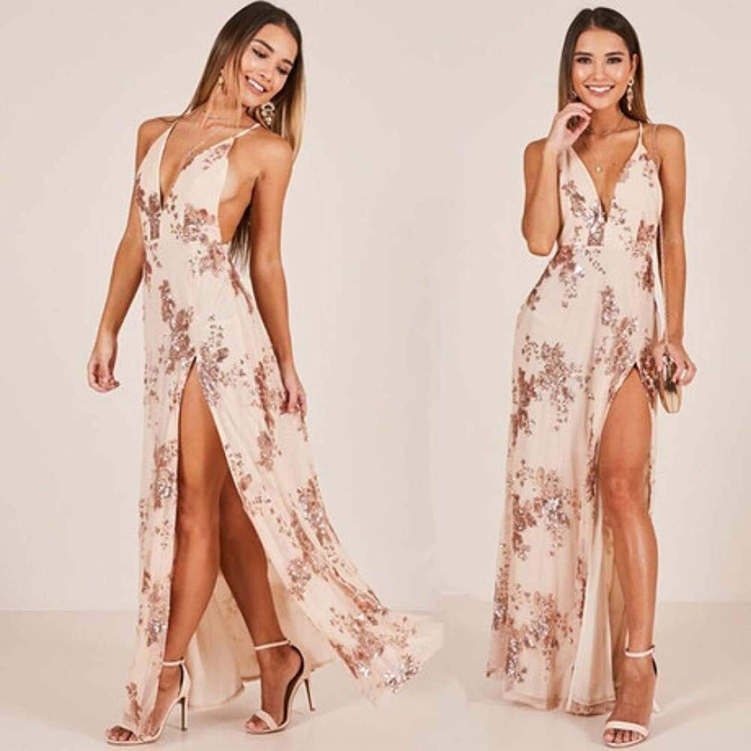 SPFAZJ 2019 Sequins Women's European and American Style Fashion Straps Deep VNeck Sexy Halter Jumpsuit High Slit Dress