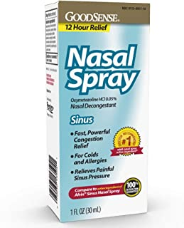 GoodSense Oxymetazoline HCl 0.05% Nasal Allergy Spray for Sinus Relief and Allergy Relief