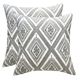 SLOW COW Cotton Embroidery Throw Pillow Covers Decorative Cushion Covers Pillowcases for Couch Sofa Bedroom 18x18 Inches, Set of 2 Grey Gray