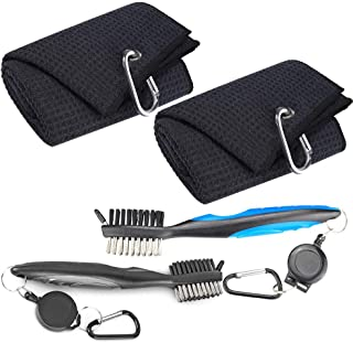 2 Pack Golf Towels Golf Club Brush Groove Cleaner Tool Set Black Microfiber Waffle Pattern Tri-Fold Golf Club Ball Cleaning Towel For Golf Bags With Clip Men Women Golf Gifts �