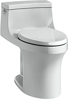 KOHLER K-5172-95 San Souci Comfort Height Compact Elongated 1.28 GPF Toilet with AquaPiston Flushing Technology and Left-Hand Trip Lever, Ice Grey, 1-Piece