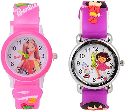 Shocknshop Analogue Boys Girls Watch White Dial Multicolour Strap Pack Of 2