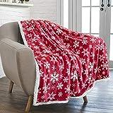 PAVILIA Premium Christmas Sherpa Throw Blanket | Red Snowflake Decoration, Fleece, Plush, Warm, Cozy Reversible Microfiber Holiday Blanket 50 x 60