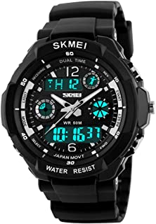 Fanmis Unisex Sports Watches Multifunction Dual Time 12/24H Led Backlight 50M Waterproof Stopwatch Alarm Military Watch Black