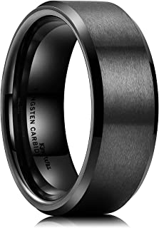 Basic Unisex 8mm Silver/Black Tungsten Carbide Matte Polished Finish Wedding Engagement Band Ring