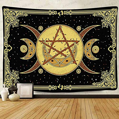 F-FUN SOUL Altar Tarot Tapestry, 60x40inches Soft Flannel, Goddess Celtic Wicca Art Wall Hanging Tapestries for Living Room Bedroom Decor GTZYFS925
