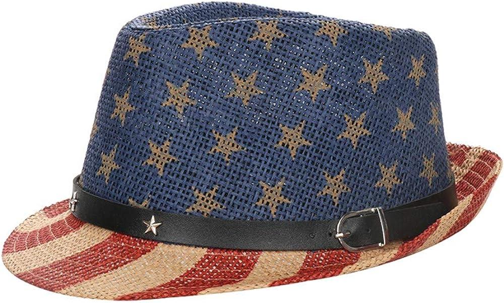 Patriotic Fedora Hat American USA Flag Sun Beach Unisex for Women Men