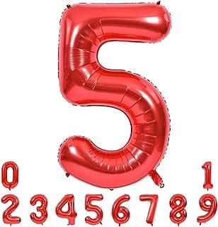بالونات بأرقام كبيرة حمراء مقاس 40 بوصة 0-9، بالونات هيليوم رقم 5 أرقام 5، بالونات مايلر ذات عدد كبير من رقائق معدنية لمست...