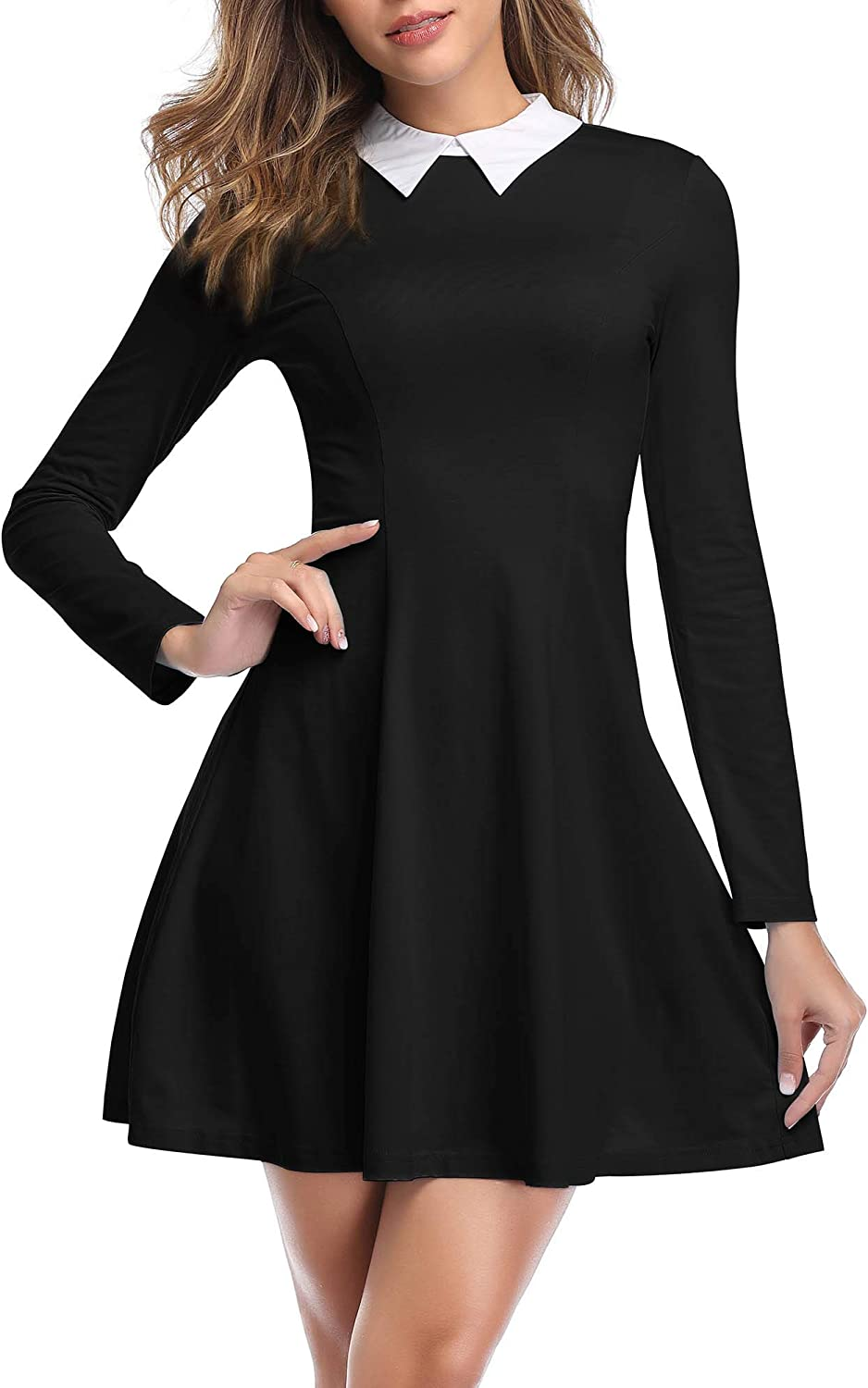 JECEIKA Womens Long Sleeves Peter Pan Collar Aline Fit and Flare Wednesday Addam Dresses