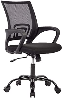 Office Chair Ergonomic Cheap Desk Chair Mesh Computer Chair Lumbar Support Modern Executive Adjustable Stool Rolling Swivel Chair For Back Pain Black Furniture Decor