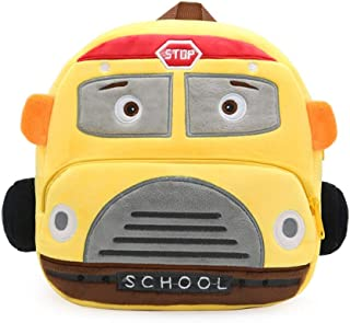 Kids Toddler Backpack 3D School Bus Plush Toy Nursery Backpack Kindergarten Children Snack School Bags for 1-4 Years Old Boys and Girls Outdoor (Color : Yellow)