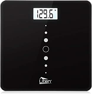 Uten Digital Body Weight Bathroom Scales with Step-On Technology, Backlight Display, Round Corner Design and 8MM Glass, 440lb/200kg Capacity (Black)