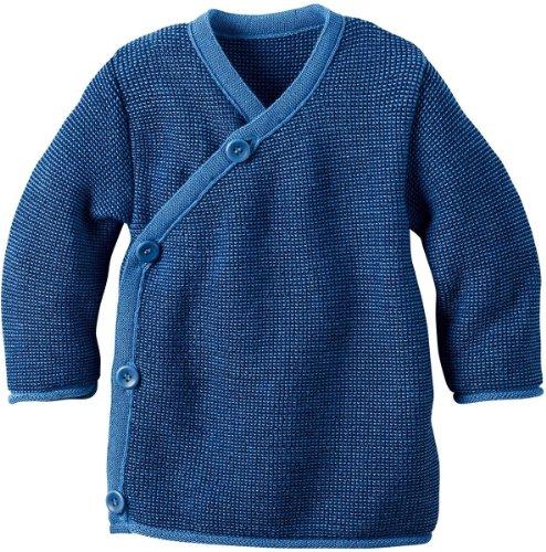 Disana Disana Melange-Jacke aus Merino-Schurwollstrick kbT für Babys (50/56, Blau)