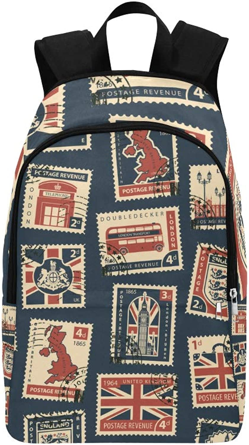 Stamps and Postmarks in Retro Style Casual Daypack Travel Bag College School Backpack for Mens and Women
