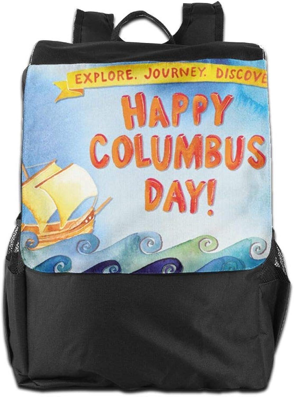 Personalisierbarer Outdoor-Rucksack, Reisen Camping, Camping, Camping, Schule, Happy Columbus-Day Verstellbarer Schultergurt, Stauraum für Damen und Herren B07H2TYQDM a2ad73