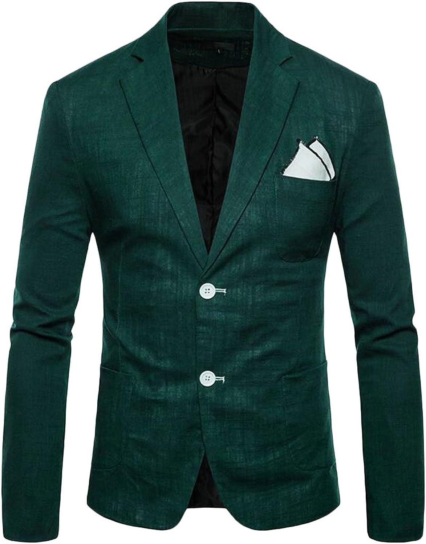 Fubotevic Men's Casual Business Pure color 2 Button Classic Cotton Linen Slim Fit Blazer Jacket Coat