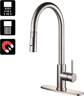 KOKOSIRI High Arc Pull out Kitchen Faucets Single Lever Kitchen Sink Mixer With Magnetic Docking Spray Head, Stainless Steel Water Tap, Brushed Nickel, A2001BR-MD