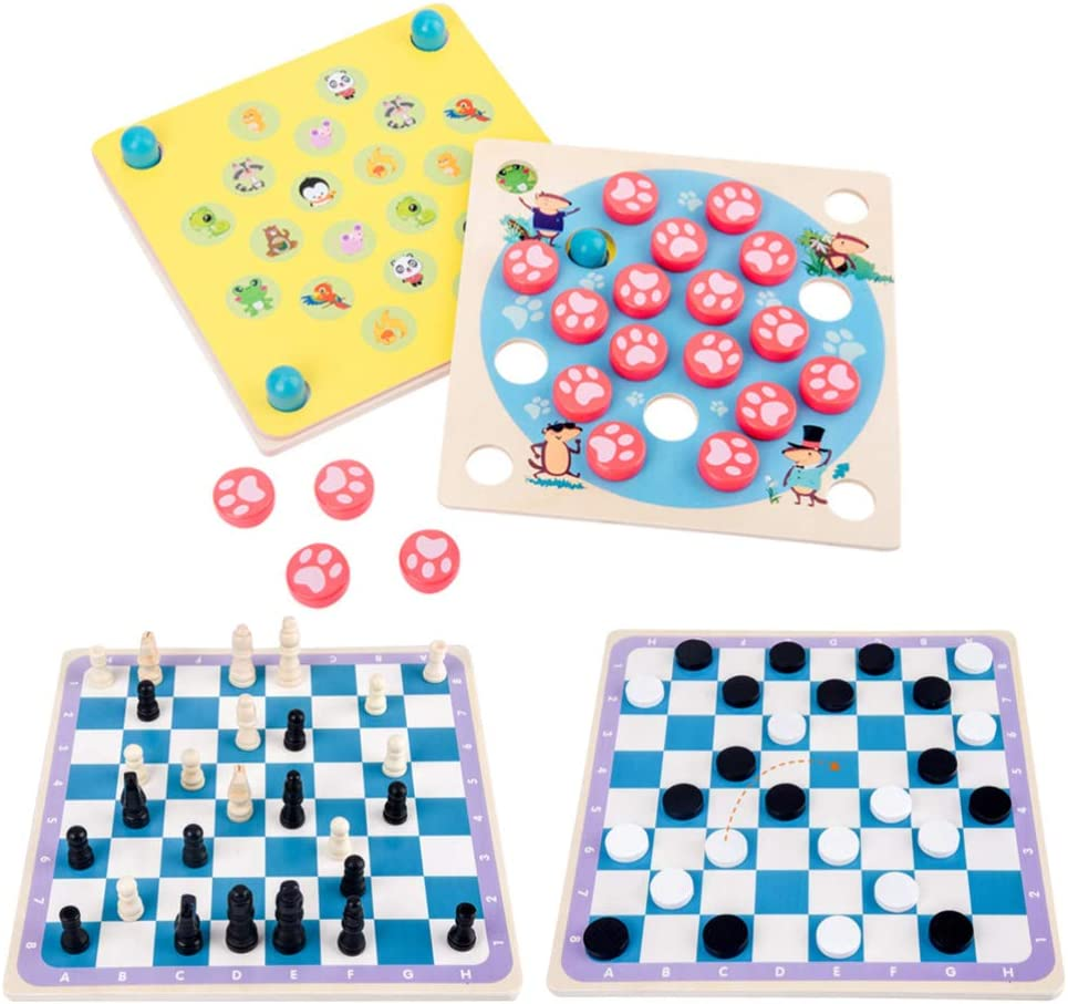 Toyvian 1 Set Max 88% OFF Wood Memory Board Intelligence IQ Popular overseas Reusable Br Game