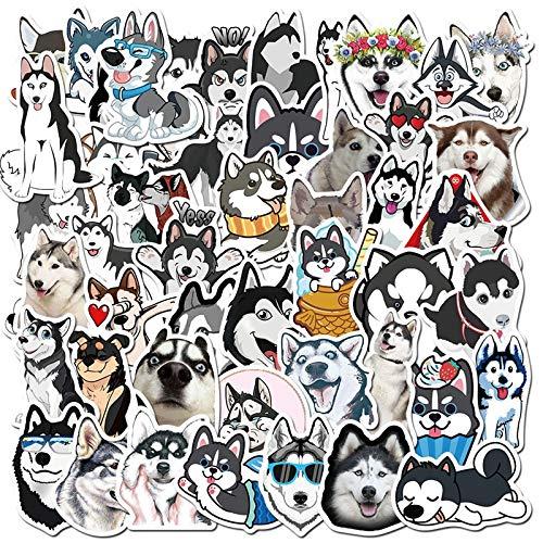 YZFCL Stupid Pet Husky Maleta portátil Casco Taza de Aislamiento monopatín Impermeable Graffiti Pegatina 50 Uds