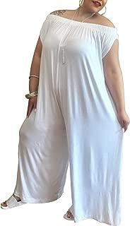 Women's Jumpsuits Off The Shoulder Rainbow Print Loose Wide Leg Pants Jumpsuit Romper with Pockets S-XXXL