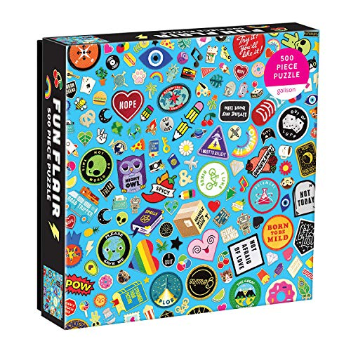 """Galison Fun Flair Jigsaw Puzzle, 500 Pieces, 20""""x20"""" – Features an Image of a Cool Collection of Embroidered Patches and Pins – Challenging, Perfect for Family Fun – Fun Indoor Activity, Multicolor"""
