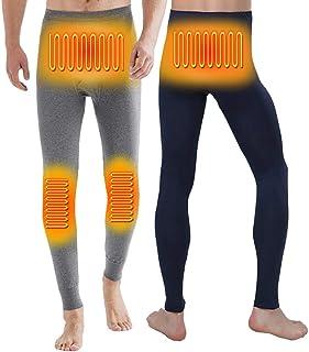 BINIBOX Pantalones Interiores Térmicos para Hombre Pantalones Largos con Forro Cálido con Calefacción USB Invierno