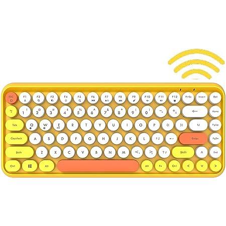 Teclado inalámbrico Bluetooth, Compacto de 84 Teclas, Teclado liviano, Estilo Retro, Textura Mate, Compatible con PC, computadora portátil, teléfono y ...