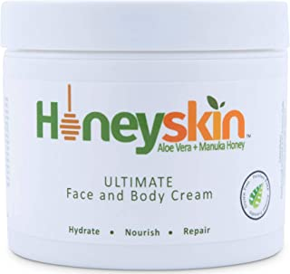 Face and Body Cream Moisturizer - Nourishing Aloe Vera - Manuka Honey for Rosacea Eczema Psoriasis Rashes Itchiness Redness - Natural Organic Cracked Skin Relief - Anti Aging - Anti Wrinkle (4 oz)