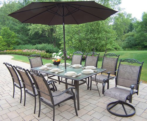 Big Sale Cascade 9pc Dining Set with Umbrella and Stand