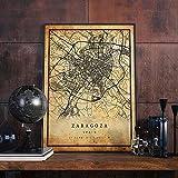 MG global Zaragoza Vintage Landkarte Poster Wandkunst |