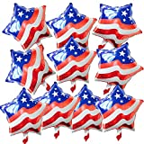 10pcs Red White and Blue USA Flag Foil Balloon Star Shaped Mylar Balloons for Independence Day Party Favours