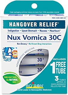 Boiron Nux Vomica 30C, 3 Tubes (80 Pellets per Tube), Homeopathic Medicine for Hangover Relief