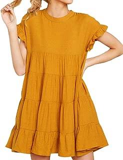 Women's O Neck Ruffle Short Sleeve Tiered Casual Mini Dress