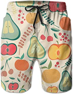 6478c2f46f FAVIBES Fruits Rétro À Séchage Rapide Boardshorts en Dentelle Élastique  Shorts De Plage Pantalon De Bain