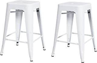 Adeco 2016 New 24-inch Metal Counter Stools Tolix Style Industrial Chic Chair, Glossy White, Set of 2, White