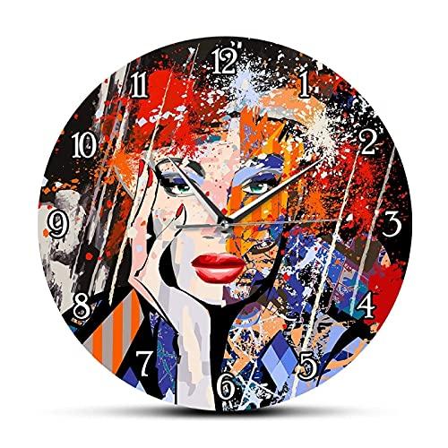 Reloj de Pared Digital Arte Abstracto Moda Dama Retrato Reloj de Pared Moderno Pintura Retrato de una Cara de Mujer (Reloj de Pared)