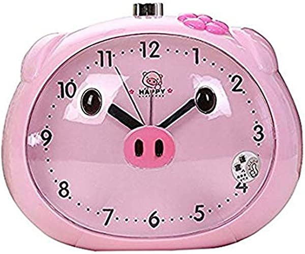 Cartoon Pig Desk Alarm Clocks Cute Frog Shaped Pig Clock For Children With Night Light Pink