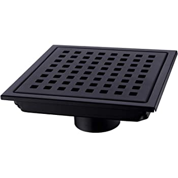 Orhemus Square Shower Floor Drain with Removable Cover Grid Grate 6 inch Long, SUS 304 Stainless Steel Black Plated Finish