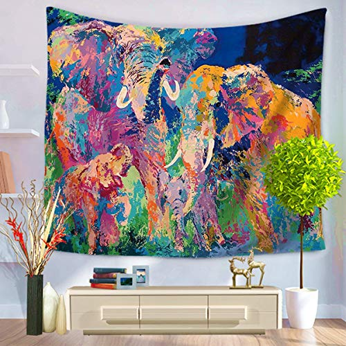 LIGICKY Watercolor Mandala Elephant Tapestry Wall Hanging, Corlorful Bohemian Elephants Art Background Wall Tapestries Indian Home Decoration for Living Room Bedroom Dorm, 59.1' x 51.2'