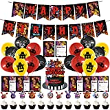 44 Pcs Five Nights at Freddy Birthday Party Decorations,1 Happy Birthday Banner,1 Cake Topper,12 Cupcake Toppers, 18 Balloons,12 invitation card for Five Nights at Freddy Theme Party Decorations