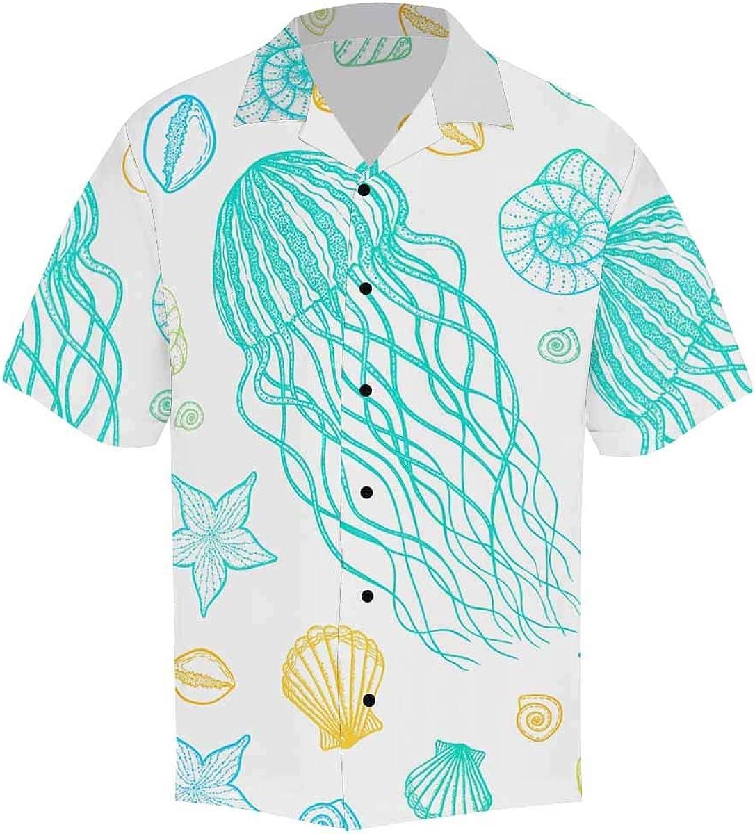 InterestPrint Men's Casual Button Down Short Sleeve Blue Cute Cloud Hawaiian Shirt (S-5XL)