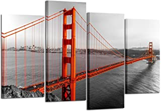 Kreative Arts Extra Large 4 Pieces Black White and Red Canvas Prints Wall Art San Francisco Golden Gate Bridge Pictures Cityscape Painting Printed on Canvas Art Work for Walls Decoration L64xH43