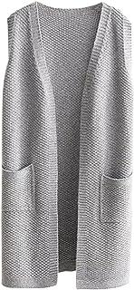Viottiset - Chaleco de punto para mujer, sin mangas, con bolsillos delanteros
