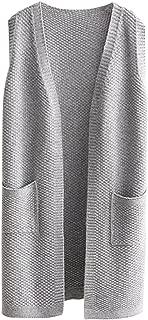 Women's Open-Front Knitted Long Cardigan Sweater Vest Outwear Coat