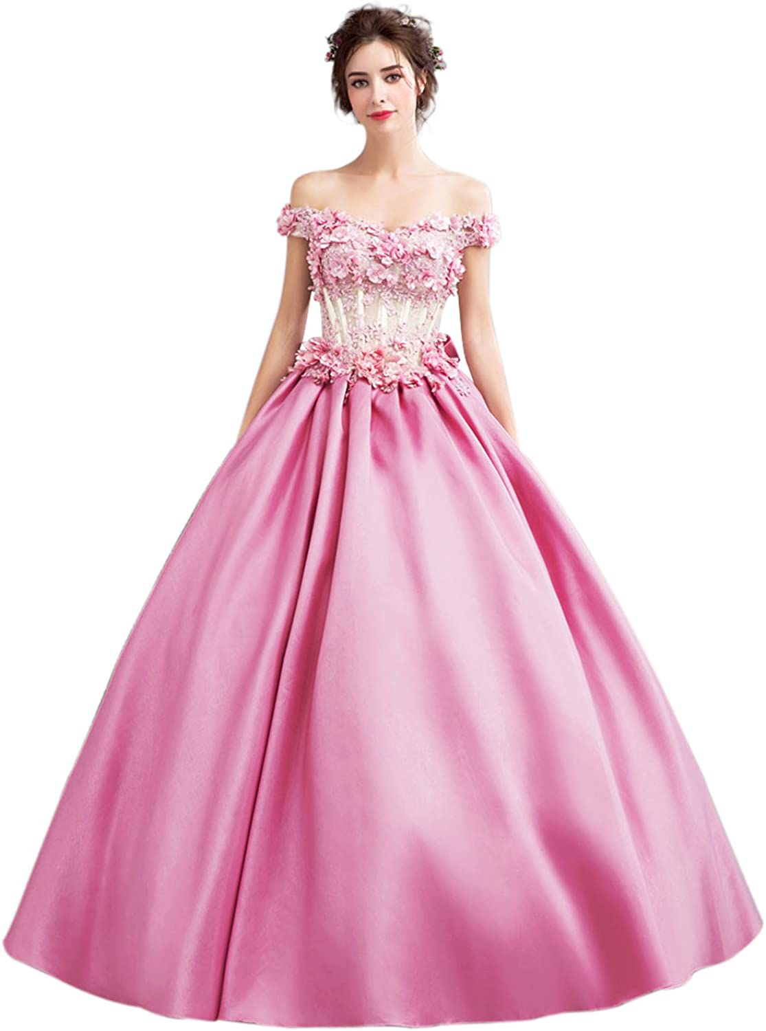 Epinkbridal Princess Ball Gown Off Shoulder Quinceanera Dress Flower Beaded Sweet 15 Dresses