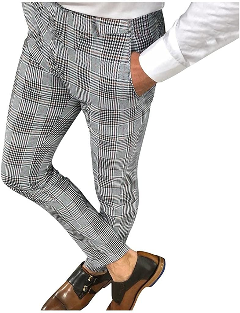 Plaid Pants Fees free!! for Mens Flat Sports Swea Pencil Front Discount is also underway Workout