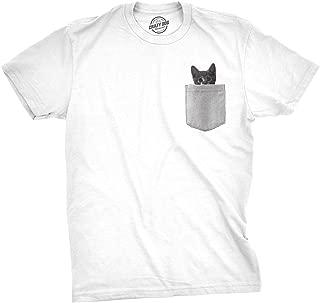 Mens Pocket Cat T Shirt Funny Printed Peeking Pet Kitten Animal Tee for Guys