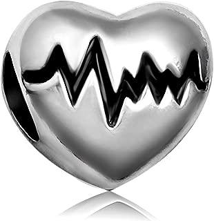 JMQJewelry Heart Love Electrocardiogram Christmas Heartbeat Charms For Bracelets